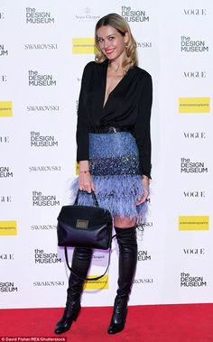 Gorgeous: Petra dressed to impress for her evening of culture, standing out from the crowd of fellow art-lovers in a funky feathered miniskirt with glittering embellishment