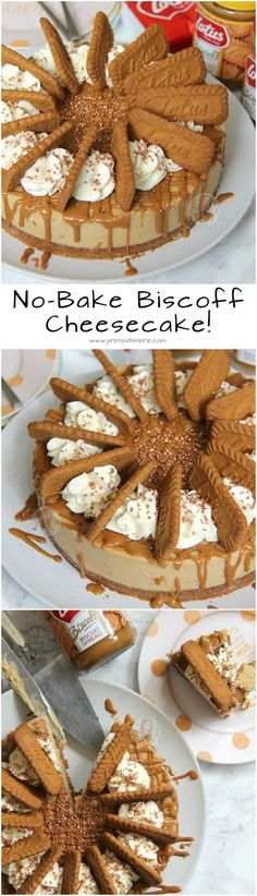 No-Bake Biscoff Cheesecake! ❤️ A delicious Biscoff Cheesecake, with a Lotus Base, sprinkled with more biscuits and whipped cream and a Biscoff Drizzle.