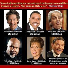 Show me the money you gormless god believing thieving hypocrites!