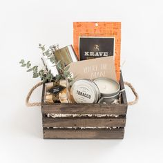 """""""You're the Man"""" Gift Box by Marigold & Grey // Groomsmen Gift / Groom Gift / Father of the Bride Gift / Thank You Gift / Man Gift / Masculine Gift / Fathers Day Gift / Client Gift / Corporate Gift / Bachelor Party / Source: https://www.marigoldgrey.com/shop/pre-designed-gifts.html"""