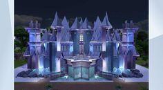 Découvrez ce terrain dans la Galerie LesSims4! - #Ice #Princess #Queen #Blue #Snow #Fountain #Mansion #Family #Castle #Kingdom #Disney #Pretty #Fancy #Art #Gallery #Museum This Castle has tons of art and collections