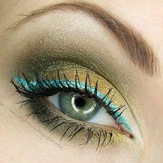 Gold eyeshadow with turquoise eyeliner