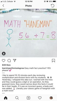 This is such a fun twist on Hangman for math.  This is a great time filler that builds mental math skills. #math #mentalmath #mathgames