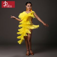 350b61d8fb8c Online Shop 2017 Adult girls Latin dance performance costumes yellow/pink  tassel dress for Latin dancing competition dresses 5 sizes