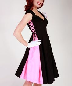 Another great find on #zulily! Black & Pink Crisscross A-Line Dress - Women & Plus #zulilyfinds