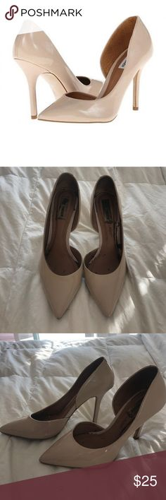 Steve Madden Insaniti D'Orsay Pumps As seen on Victoria Justice! Nude leather patent pumps with 3inch heels. These have been previously loved and have associated signs of wear. Some slight discoloration on back heels and minor/small scuffs on shoe and heel, which are visible in last 4 photos. Great deal. Steve Madden Shoes Heels