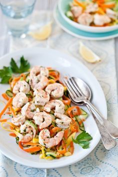 Lemon Parsley Shrimp With Ribbon Vegetable Salad