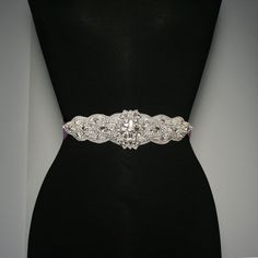 "Bridal Sash with 9"" Crystal Applique 