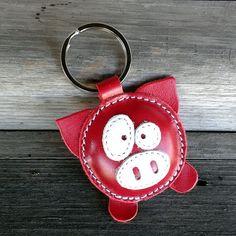 Leather Keychain cochon Red - livraison Wordlwide - charme de sac en cuir cochon gratuite