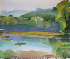 Marsh beside the Connecticut River, NH, watercolour, Rebecca Ryland