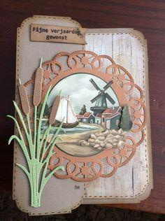 Voorbeeldkaart - Kaart - Categorie: 3D - Hobbyjournaal uw hobby website Marianne Design, Windmill, Scrapbooking, Diy And Crafts, Scenery, Dutch, Cards, Pictures, Masculine Cards