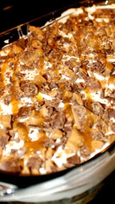 Better Than Sex Cake Recipe ~ super easy to make... delicious chocolate poke cake with whipped cream topping and topped with caramel and heath bar bits!