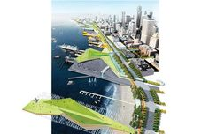 Future of the waterfront, 2011 (Aerial overview of conceptual ideas for the new Waterfront, looking North. Image by James Corner Field Operations, courtesy of the City of Seattle, Landscape And Urbanism, Landscape Architecture Design, Landscape Plans, Urban Landscape, Data Architecture, Architecture Diagrams, Architecture Graphics, Architecture Portfolio, Seattle Usa