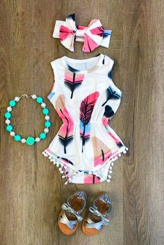 Feather Pom Pom Romper