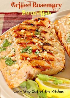 Grilled Rosemary Swordfish - succulent and delectable way to prepare #swordfish steaks!  #seafood