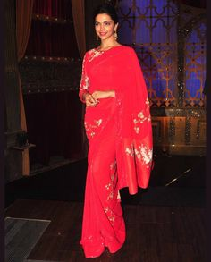 Deepika Padukone In Red Sari   1. Red net sari2. Comes with unstitched blouse material Disclaimer: This product is inspired by a designer collection. It's not an original designer product. This item can not be returned or exchanged.