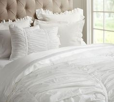 Hadley Ruched Duvet Cover  Sham - White #potterybarn i want an all white bed set for when I move into my apartment next spring