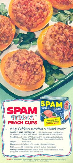 It really upsets me that people think these recipes are a good idea. I have always thought that ground up spam looks like cat food. This is sad. Spam Recipes, Retro Recipes, Old Recipes, Vintage Recipes, Vintage Food, Vintage Ads, Gross Food, Weird Food, Canned Meat