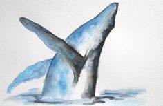 Print of original Whale Watercolor by PepperboxCreations on Etsy, $12.00