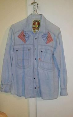 Women's Swatch Designer Jean Shirt Blouse Size Small  Trendy Chic Hipster BOHO…