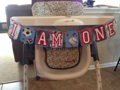 I AM ONE Birthday High Chair Banner Sports themed by HandmadeByVee, $15.00