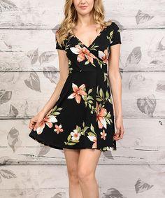 Look at this #zulilyfind! Black & Orange Floral Surplice Dress #zulilyfinds