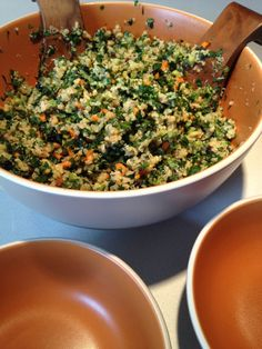 Summer quinoa + kale salad, minus the celery and parsley, add garbanzo beans and forget the chicken for a great side.