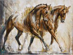 Reproductions giclées sur toile - giclée prints on canvas — Elise Genest Horse Drawings, Animal Drawings, Art Drawings, Painted Horses, Clown Paintings, Animal Paintings, Abstract Horse Painting, Art Occidental, L'art Du Portrait