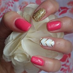 Bluesky pink and white gel polish with gold glitter and Gold nail art tape on feature nails.