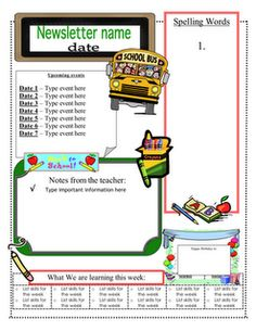 weekly classroom newsletter templates