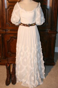 1970's Mexican Wedding or Festival Dress.  Off the Shoulder, Lace and Full, Long Skirt $80.00   Waist 26 Length 54 inches sleeves 16 inches