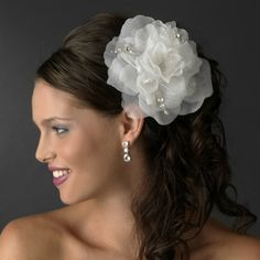 Precious White or Ivory Flower Hair Comb w/ Swarovski Crystals $68.00