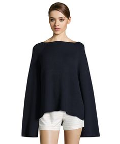 navy cashmere-blend ribbed pullover sweater