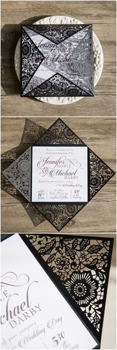 simple and elegant black and white laser cut wedding invitations @elegantwinvites