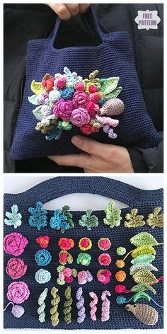 Häkeln Sie freudige Blume Tasche frei Häkelanleitungen - Places Like Heaven Crochet joyful flower bag free crochet patterns, Blog Crochet, Stitch Crochet, Diy Crochet, Crochet Stitches, Crochet Patterns, Simple Crochet, Crochet Ideas, Bouquet Crochet, Crochet Flowers