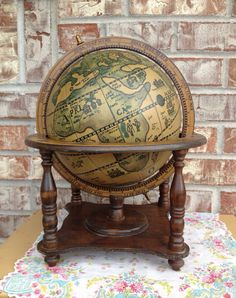 """Unique """"Old World"""" Wooden Globe on Wood Base / Stand - Unmarked  on Etsy, $29.95"""