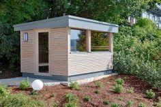 Saune im Grünen mit Blick auf den Traunsee Outdoor Sauna, Saunas, Modern, Shed, Outdoor Structures, Dolphins, Infrared Heater, Projects, Backyard Sheds
