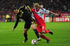 Fernando Torres of Liverpool battles with Mircea Nesu of FC Utrecht during the UEFA Europa League match between FC Utrecht and Liverpool at the Stadion Galgenwaard on September 30, 2010 in Utrecht, Netherlands.