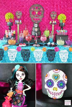 | Day of the Dead Candy Buffet – Monster High Skelita Calaveras Party | http://soiree-eventdesign.com