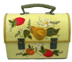 Vintage Tin Lunch Box Purse Fruit Appliques 1970S