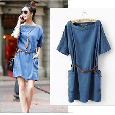 Women' Casual Loose Short Mini Dress Denim Jean Summer Sleeve Shirt Dresses New