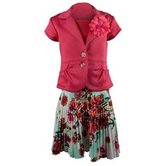 Alexandra Girls 3 Piece Suit Pleated Floral Skirt Set Salmon Size 10. 100% Polyester. Made in USA. Stretch Fabric Allows For A Fitted Look. Pleated Skirt. Removable Flower Pin.