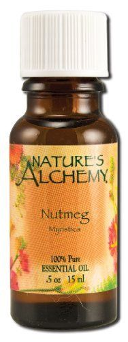 Essential Oil Nutmeg 0.50 Ounces by Nature's Alchemy. Save 6 Off!. $7.47. 0.5 Ounces Liquid. Serving Size:. 100% Pure Nutmeg Essential Oil .5 oz (15 ml)Botanical name: MyristicaExtraction process: Steam distillationCountry of Origin: East India