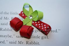 Boutique Red Cherry Ribbon Sculpture Hair Clip.