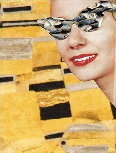Dada Shojai, 1:13 #rayban #vintage #vintage ad #woman #fish #pattern #repetitive #gold #klimt #golden #backround #sunglasses #sunglass #sun #glasses #artists on pinterest #artist #art #collage #cutout #tumblr radar