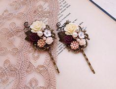Flower hair pin Ivory and burgundy flower Bobby hair pin