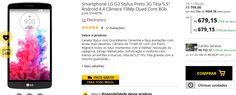 """Smartphone LG G3 Stylus Preto 3G Tela 5.5"""" Android 4.4 Câmera 13Mp Quad Core 8Gb << R$ 67915 >>"""