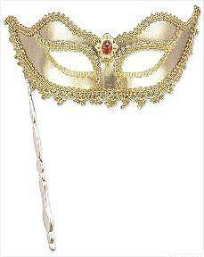 Costumes! Lady Grace Gold & Lace Eye Mask w Opera Stick #BAC #OperaMask #MardiGras