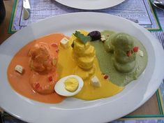 My favorite Peruvian dish, Papa a la Huancaina - baked potato in a spicy cheese sauce.
