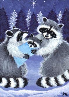 Raccoon Family in Winter